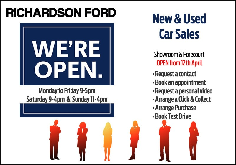 SALES Showrooms & Forecourts are OPEN from Monday 12th April